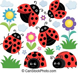 Stylized ladybugs theme set 1