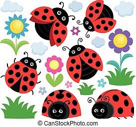 Stylized ladybugs theme set 1