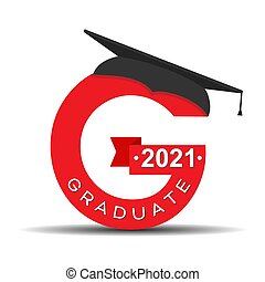 Stylized letter G with the inscription Graduate 2021 and the graduate cap. Simple stock design.