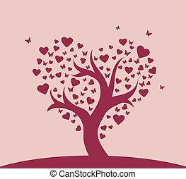 stylized, liefde, boompje