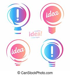 Stylized lightbulbs logo set, new idea and solution abstract symbol, flat bright cartoon incandescent light bulb collection. Isolated simple vector icon on vector background.