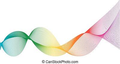 Stylized line art rainbow background, Digital sound effect...