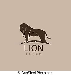 Stylized lion logo design template for your company. Artistic animal silhouette. Vector illustration.