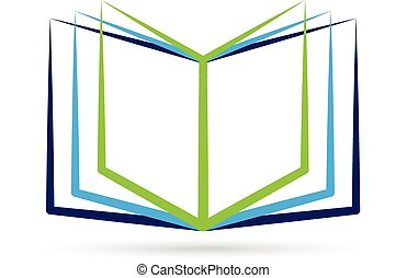 stylized, logo, boek, open