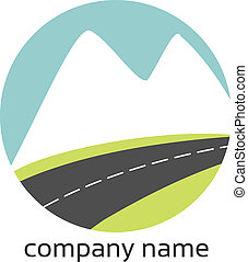Stylized logo with landscape and road