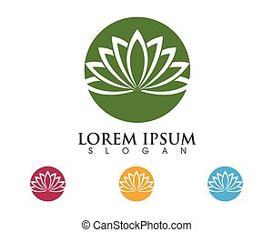 Stylized lotus flower Logo Template
