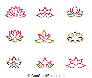 Stylized lotus Logo flower icon vector