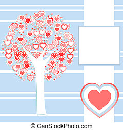 stylized love tree made of red hearts background