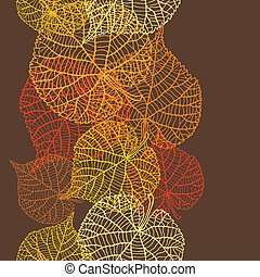 stylized, mönster, seamless, leaves., höst, vektor