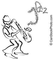 stylized, músico, saxofone, vetorial
