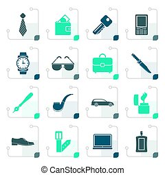 Stylized man accessories icons and objects-