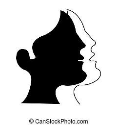 stylized man and woman profiles
