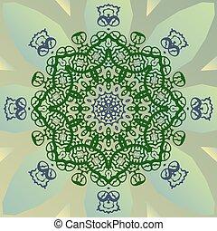 Stylized mandala star on green banner vector