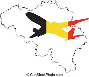 stylized map of Belgium with the plane and national symbols