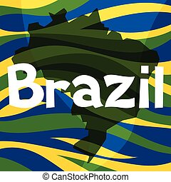 Stylized map of Brazil with abstract color stripes