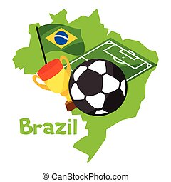 Stylized map of Brazil with soccer ball and flag