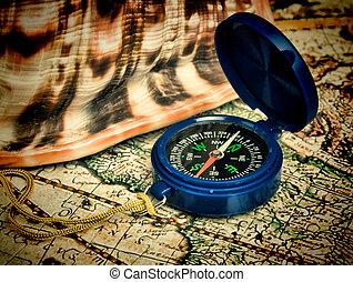 stylized, mapa, antigas, compasso
