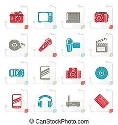 Stylized Media and technology icons
