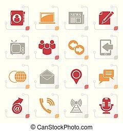 stylized, media, och, kommunikation, ikonen