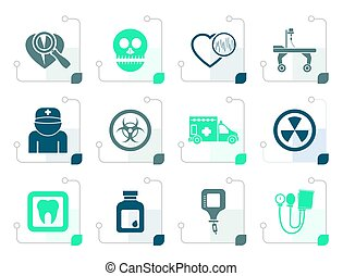 Stylized Medicine and hospital equipment icons