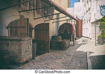 Stylized medieval street in Riga