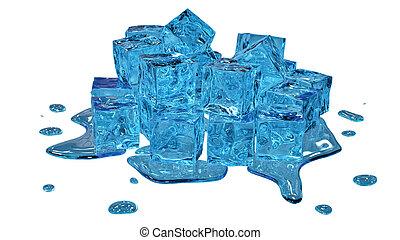 Stylized melting ice cubes