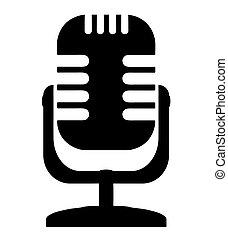 stylized, microfoon, meldingsbord