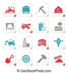 Stylized Mining and quarrying industry icons