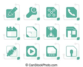 Stylized Mobile Phone, Computer and Internet Icons - Vector...