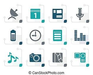 Stylized Mobile phone performance icons
