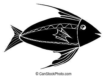 stylized, monocromático, peixe