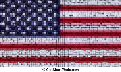 Stylized mosaic American flag made of moving pixels,...