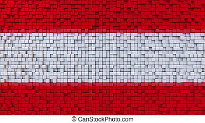 Stylized mosaic flag of Austria made of pixels, 3D rendering