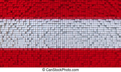 Stylized mosaic flag of Austria made of moving pixels,...
