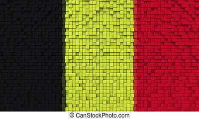 Stylized mosaic flag of Belgium made of moving pixels, seamless loop motion background