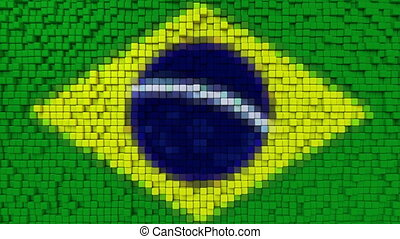 Stylized mosaic flag of Brazil made of moving pixels, seamless loop motion background