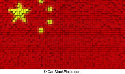 Stylized mosaic flag of China made of moving pixels,...