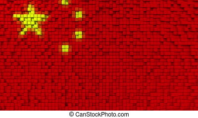 Stylized mosaic flag of China made of moving pixels,...