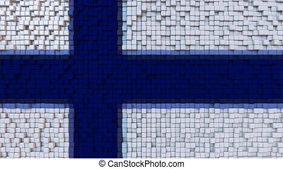 Stylized mosaic flag of Finland made of moving pixels,...