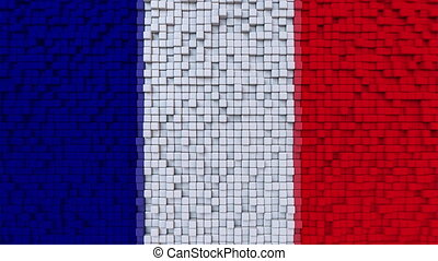 Stylized mosaic flag of France made of moving pixels,...