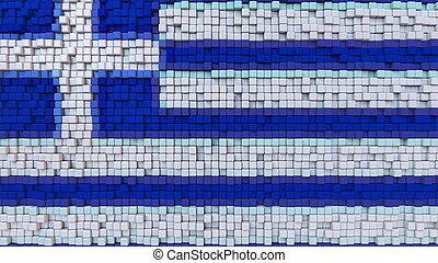 Stylized mosaic flag of Greece made of pixels, 3D rendering