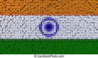 Stylized mosaic flag of India made of moving pixels,...