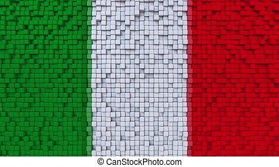 Stylized mosaic flag of Italy made of moving pixels,...