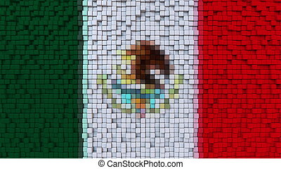Stylized mosaic flag of Mexico made of pixels, 3D rendering