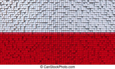 Stylized mosaic flag of Poland made of pixels, 3D rendering