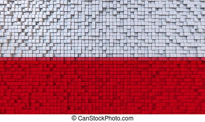 Stylized mosaic flag of Poland made of moving pixels, seamless loop motion background