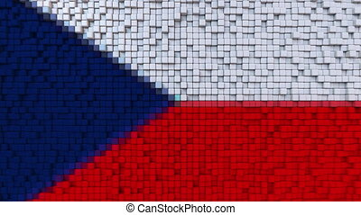 Stylized mosaic flag of the Czech Republic made of moving...