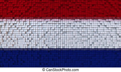 Stylized mosaic flag of the Netherlands made of moving pixels, seamless loop motion background