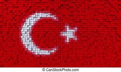 Stylized mosaic flag of Turkey made of moving pixels,...