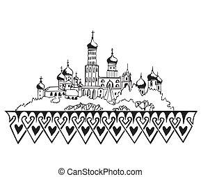 stylized, moskou, kremlin, schets